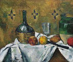Paul Cézanne: Still Life - Flask, Glass, and Jug (Fiasque, verre et poterie) c. 1877 (detail).