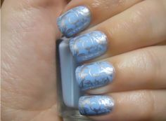 Blue and silver damask nails