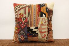 Colorful Patchwork Kilim Pillow Cover 20 x 20 by kilimwarehouse, $49.00