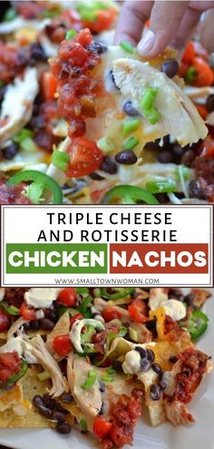 Triple Cheese and Rotisserie Chicken Nachos are the perfect holiday appetizer for a crowd! These easy nachos are made with baked rotisserie chicken and can literally be whipped up in just a few minutes. Make this for your Christmas and New Year's eve party!