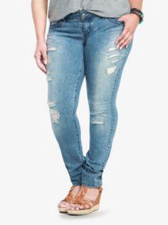 Torrid Skinny Jeans - Destructed Light Wash