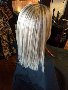 All over blonde with blended mocha brown lowlights.
