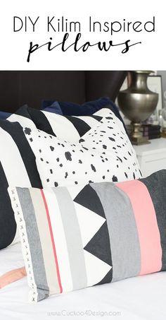 easy painted DIY Kilim inspired pillows - Cuckoo4Design