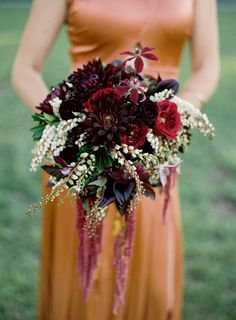 Burgundy bouquet for fall. | Photography: Jose Villa - josevillaphoto.com Event Design: Moon Canyon Design - mooncanyondesign.com/  View entire slideshow: Fall Wedding Inspiration on http://www.stylemepretty.com/collection/602/
