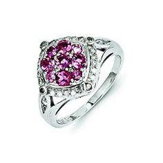 Sterling Silver Diamond & Pink Tourmaline Ring