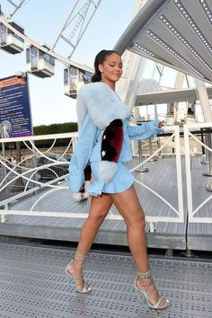blue rihanna @roressclothes closet ideas #women fashion outfit #clothing style apparel silver heels