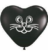 Cat Face balloon Heart Balloons Black Heart by ThePartyGnome