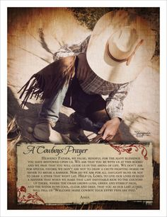 A Cowboy's Prayer.  Christian posters and prints.