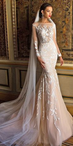 Top 2019 Quality Mid East Mermaid Wedding Dresses Full Sleeves Embroidery applique Plus Size Illusion Sexy Wedding Gown 2020 Best Wedding Dresses, Bridal Dresses, Wedding Gowns, 2017 Wedding, 2017 Bridal, Mila Nova Wedding Dress, Modest Wedding, Tulle Wedding, Wedding Bride