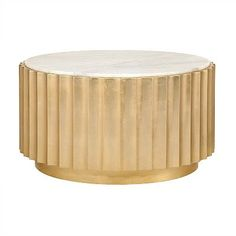 Add contemporary ambiance to your living room with the gold leaf, scalloped Clove Coffee Table from Worlds Away. This chic, round cocktail table is topped with beautiful white marble, making it a must-have!
