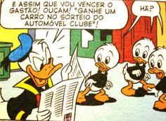 Pato Donald compete com Gastão, ilustração Walt Disney.