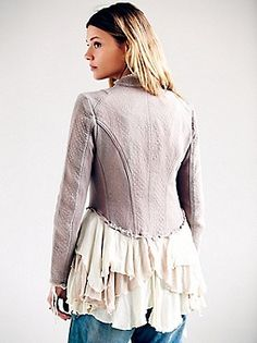Loving adding ruffles in contrasting fabrics to extend an upcycled top or jacket. Feminine elegance.