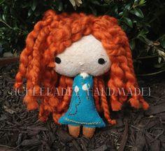 Merida from Brave, inspired felt plush doll