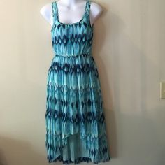 NWT H&M blue dress Flowing, comfortable, elastic waist,  shorter in front longer in back, gorgeous Different shades of blue dress H&M Dresses