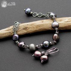 EmilaM, komplet, kolczyki, bransoletka, srebro, perły