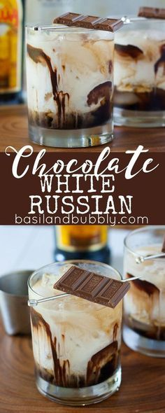 White Russian A dessert cocktail recipe everyone will love: Chocolate White Russians. Made with Kahlua, Vodka, Cream, Chocolate Syrup, and garnished with a chocolate bar.A dessert cocktail recipe everyone will love: Chocolate White Russians. Cocktails Vodka, Beste Cocktails, Cocktail Desserts, Holiday Drinks, Dessert Drinks, Summer Drinks, Cocktail Drinks, Dessert Recipes, Martinis