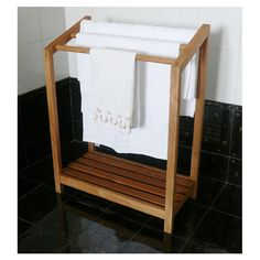 I would love this teak towel rack for my pool - but need it bigger!!!