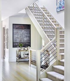 Transitional Neutral Stairway with Wool Runner