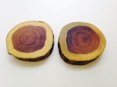 Pair of laburnum wood coasters - wooden coaster set - chunky handmade coasters - wooden coasters - reclaimed wood - OOAK by ChickWithChainsaw on Etsy