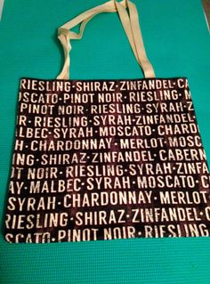 Flannel Tote bag with wine names by AnotherFRcreation on Etsy