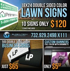 Lawn signs, business cards, custom banners + more. #globaltech #globaltechnj #print #marketing #design #banners #signs