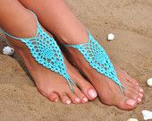 Crochet Aqua Barefoot Sandals, Yoga, Nude shoes, Foot jewelry, Bridesmaid accessory, Barefoot, Beach accessory, Wedding accessory