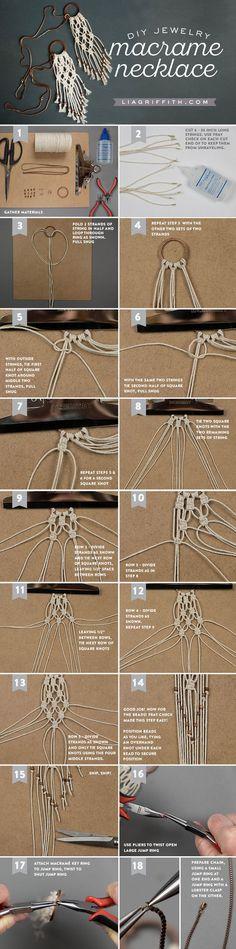 macrame DIY Macrame Necklace tutorial from MichaelsMakers Lia Griffith Macrame Colar, Macrame Knots, Macrame Jewelry, Macrame Bracelets, Macrame Earrings, Loom Bracelets, Feather Earrings, Leaf Earrings, Bohemian Jewelry