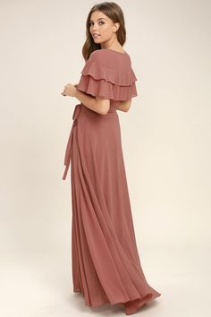 89$ - Lulus Exclusive! The birds will sing your praises when you glide by in the Wonderful Day Rusty Rose Wrap Maxi Dress! Sheer Georgette forms ruffled short sleeves, wrapping bodice (with snap button), and tying sash belt. Wrapping detail carries into a front slit on the full maxi skirt.