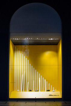 """please walk between the white lines"", pinned by Ton van der Veer Visual Merchandising Displays, Visual Display, Display Design, Fashion Displays, Store Windows, Retail Design, Shoe Stores, Layout, Window Shopping"