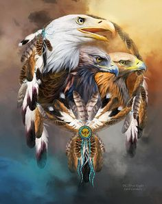 Dream Catcher - Three Eagles designer Duvet Cover featuring the art of Carol Cavalaris. On king, queen, full and twin sizes. Design also on matching pillow and fine art print. Native American Wolf, Native American Pictures, Native American Artwork, American Indian Art, American Indians, Native Indian, Native Art, Aigle Animal, Eagle Pictures
