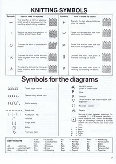 Machine knitting symbols for pattern diagrams from the book Zippy90