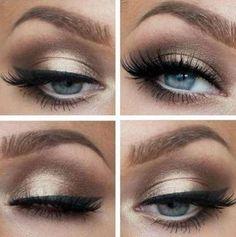 Maquiagem para vestido azul e preto