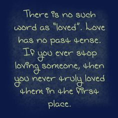 "I agree: people say ""I loved her"" or ""I loved him"" or especially ""we were in love"". You either still love them or you never did. The word love is so often overused. My philosphy is: say it if you mean it, and only if you mean it. Never say ""I love you"" to satisfy someone else. On the other hand, if you do mean it, TELL that person all the time. Let them know you care"