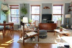 Bello Shag Wool Rug + Tillary Sectional Sofa from west elm