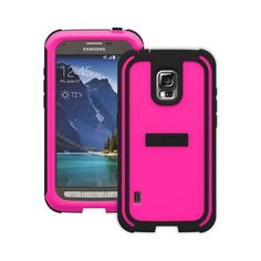 Trident Hot Pink/ Black Samsung Galaxy S5 Active Cyclops Series Thermo Poly Elastomer (Super TOUGH) Hard Case w/ Built-In Screen Protector {CY-SSGS5A-PK000} - Amazing Protection!
