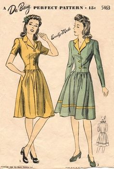 Awesome Image of Vintage Sewing Patterns Vintage Sewing Patterns 1942 Vintage Sewing Pattern Dress Du Barry The 1940s Dresses, Vintage Dresses, Vintage Outfits, Vintage Clothing, Vintage Items, 1940s Fashion, Vintage Fashion, Club Fashion, Fashion Fashion