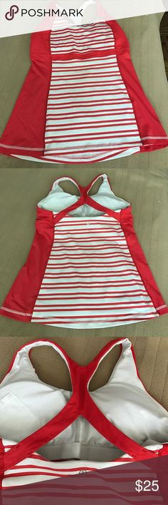 Lululemon tank top Red and white stripes. No tags guessing size will fits S-M . lululemon athletica Tops Tank Tops