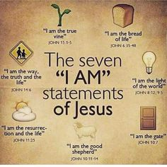 """Bible verses - The seven """"I Am"""" statements of Jesus. Bible Scriptures, Bible Quotes, Jesus Bible, Jesus I Am, Catholic Bible Verses, Jesus Book, Jesus Faith, Story Of Jesus, Bible Verses"""