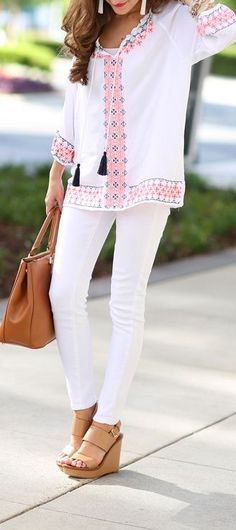 Grab your summer tunics and pair them with some fresh, white pants! You'll be looking easy breezy and ultra chic for that summer cookout coming up!