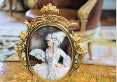Minature Porcelain Painted & Framed Plaque of Marjorie Post as Marie Antoinette, Hillwood, Washington DC