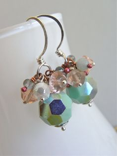The Cucumber Sorbet earrings - vintage crystals have been combined with gemstones, vintage glass, sterling and copper - refreshing and sweet!