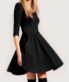 Solid Color Round Collar Slimming Simple Style Women's Dress