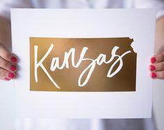 Kansas Copper Foil Letterpress Art Print by IndieOlive on Etsy Cube Decor, Gold Foil, Letterpress, Kansas, Copper, Art Prints, Frame, Creative, Handmade