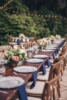 Rustic Romantic Navy and Blush Place Settings | Richard Bell Photography