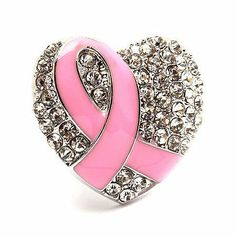 "Pink Ribbon Breast Cancer Awareness Jewelry Crystal Heart Stretch Ring Silver Accessoriesforever. $12.50. Color: Pink, Silver. Style: Pink Ribbon, Heart. Dimensions (Size): Approx. 1.25"" L x 1.25"" W, Stretchable / Adjustable Band. Lead Compliant. Material: Clear Crystal Rhinestones, Pink Enamel Coated, Metal Casting, Rhodium / Silver Plated. Item Name: Pink Ribbon Stretch Ring"