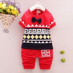 BNG Red Cotton Cute Printed T-Shirt And Bottoms Set  #BNG, #Red, #Printed