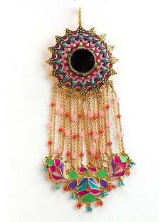 Manish Arora Amrapali collection hair accessory with mirror and enamel work.