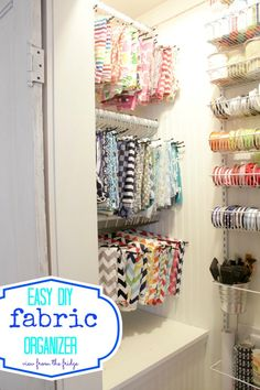 The first of our weekly 'DIRTY LITTLE SECRET FRIDAY' projects.  My craft closet goes from beyond embarrassing to bright, happy, and ORGANIZED!!  My fabric is now displayed beautifully, and best of all, it's easy to access (and put back).  I also used a pantry organizer to act as a wrapping paper and ribbon organizing unit.  The before and after pictures are pretty dramatic!