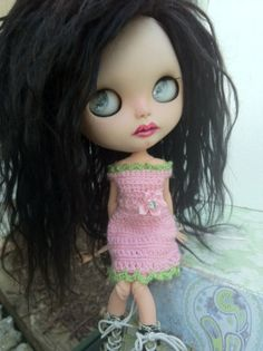 Custom Blythe Doll OOAK named Fiona by EmmyB.lythe with gorgeous black suri alpaca reroot