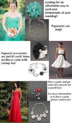 Give your bridal party the gift of fun fashion at an affordable cost . . . contact me to host an online party or to shop from my current inventory.  www.paparazziaccessories.com/17700